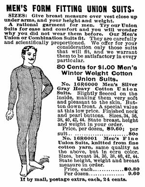 Union Suit Advertisement Sears & Roebuck catalogue